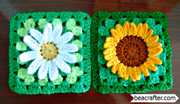 daisy and sunflower granny squares