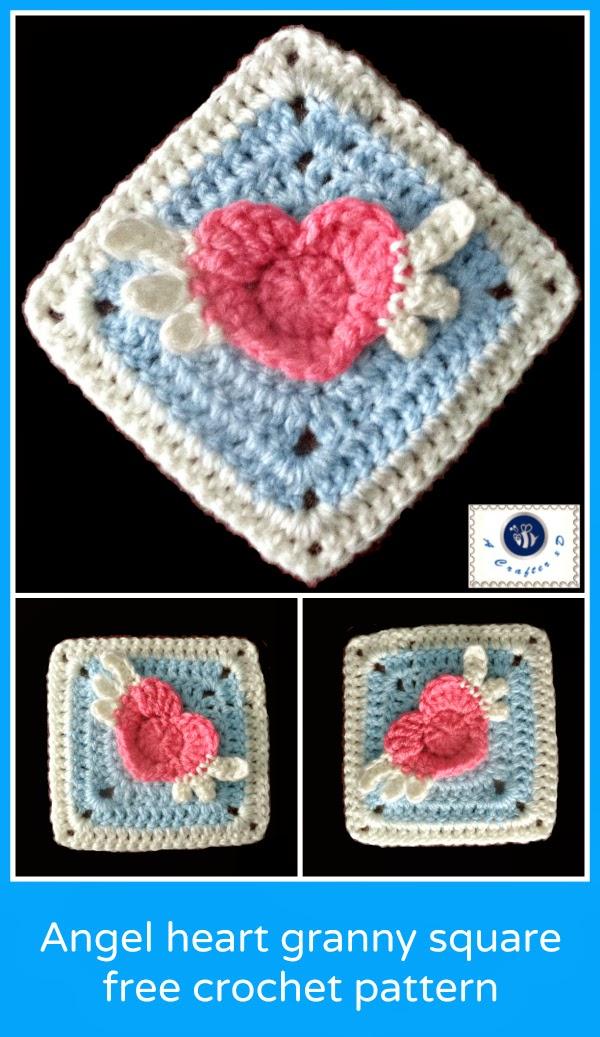 crochet angel heart granny square