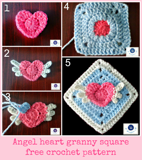 winged heart granny square free pattern