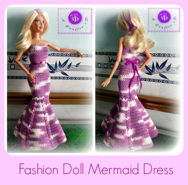crochet fashion doll prom dress