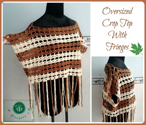 crochet oversized crop top with fringes