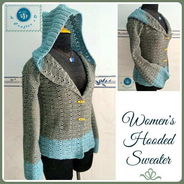 crochet womens hooded sweater