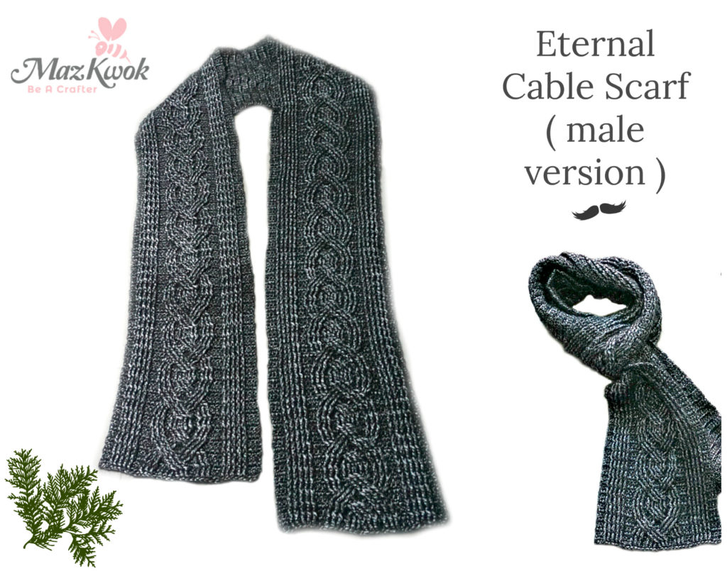 Crochet Eternal cable scarf ( male version )