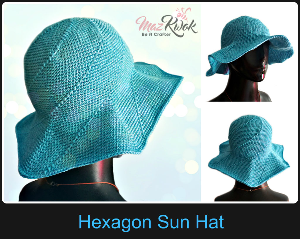 Crochet hexagon sun hat