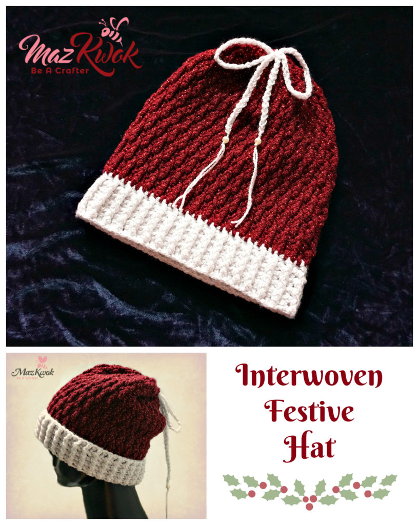 crochet drawstring santa hat